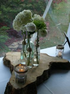 Centerpieces, jars with twine, Bottles for accent on sign in table :  wedding rustic elegant vintage barn wedding reception centerpieces glass bottles green wedding green white inspiration ceremony flowers 407618 3227587048984 1245782692 3500770 202292576 N