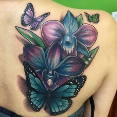 Find fresh ideas about orchid tattoo on back and shoulder for men and women for men on leg for men ideas for men badass for men on chest Lila Tattoos, Purple Tattoos, Tattoos Arm Mann, Arm Tattoos For Guys, Body Art Tattoos, Tattoos For Women, Blue Orchid Tattoo, White Tattoos, Stomach Tattoos