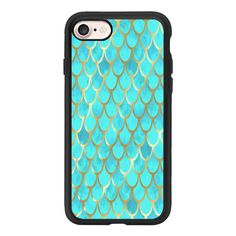 Teal Mermaid Scales - iPhone 7 Case And Cover ($40) ❤ liked on Polyvore featuring accessories, tech accessories, phone cases, phone, phonecase, iphone case, teal iphone case, clear iphone case, apple iphone case and iphone cases