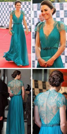 "Couldn't agree more with this pinner: ""This is the most beautiful dress I've ever seen, I can't even begin to tell you just how much I like it. The details, the colour, the way it moves... this is truly a work of art. It's a teal silk and lace gown by Jenny Packham, worn by Duchess Kate Middleton."""