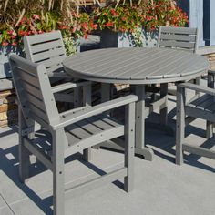 From sunrise mimosas to midnight snacks, POLYWOOD® Signature Dining Set - Seats 4 will suit your outdoor dining needs at any hour, and year after. Circular Dining Table, Outdoor Dining Set, Dining Arm Chair, Patio Dining, Table And Chairs, Outdoor Spaces, Outdoor Decor, Outdoor Pergola, Rustic Outdoor