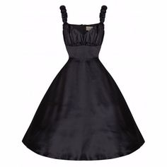 LINDY BOP 'Theresa' Black Satin 50's Vintage Style Evening Dress