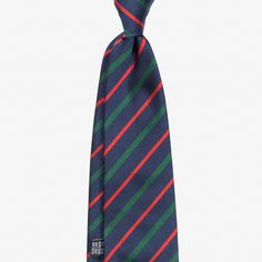 Silk tie with a classic regimental stripe design. Features handrolled edges for a light and airy feel. Handmade for Berg&Berg in Como, Italy.