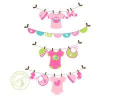 Jellybean bebé lavandería línea Clip Art por TracyAnnDigitalArt