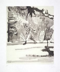 Peter Doig (British, b. Untitled, Small Cricket Player, Etching with aquatint and silkscreen. Paper: x 47 cm. Image: x cm. Peter Doig, Chelsea School Of Art, Art Graphique, Contemporary Landscape, Painting & Drawing, Printmaking, Art Drawings, Original Artwork, Illustration Art
