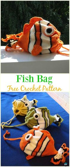 épinglé par ❃❀CM❁✿⊱Fish Bag Free Crochet Pattern - #Crochet Drawstring #Bags Free Patterns