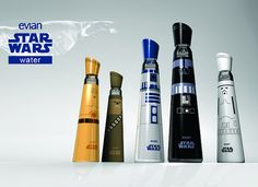 Star Wars by Evian, is an innovative intergalactic take on design packaging. Shaped to be wielded like a lightsaber, and striking enough to distinguish which side you have chosen — Jedi or Sith, these glass water bottles will take you to a galaxy far far away.    http://mandybrencys.com/Evian-Star-Wars