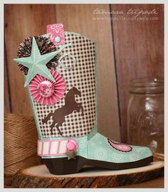 Carta Bella Paper Giddy Up die cut altered boot - Designed by Tamara Tripodi with SVG Cuts. Perfect for a western cowgirl themed birthday party!