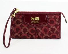 madison dotted zippy wallet wristlet crimson by coach