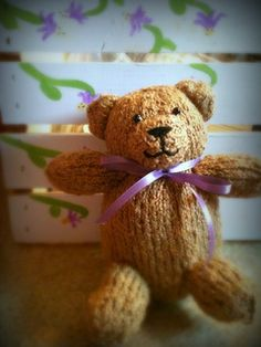 """Knit your own Teddy bear with less than one skein of Knit Picks Crayon Boucle yarn in the colorway of """"Cashew"""". He is a relatively easy knit and the results are adorable!"""