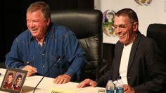 "William Shatner, at left with Leonard Nimoy at Atlanta's Dragon Con in wished his ""Star Trek"" castmate well. Leonard Nimoy, William Shatner, Boston Legal, Work Relationships, Star Trek Original, Originals Cast, New Names, Spock, Live Long"