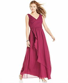 JS Boutique Sleeveless Ruched Ruffle Gown - Dresses - Women - Macy's