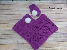 Poncho/Toddler Poncho/Toddler Poncho and Headband/Crocheted Toddler Poncho/Crocheted Purple Poncho/ Pink Poncho/Toddler Gift/Ready to Ship by MeeklyCotton on Etsy