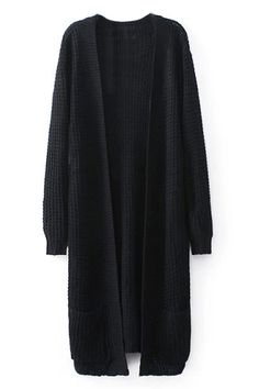 Open Front Long Black Cardigan