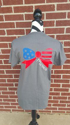 Ready To Ship Monogrammed 'Merica Flag Tshirt. by ElleQDesigns