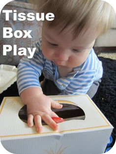 Love this, A loves boxes. Learn with Play at home: Baby Play: Tissue Box Play with different coloured bottle lids Motor Activities, Infant Activities, Activities For Kids, Activity Ideas, Educational Activities, Preschool Ideas, Toddler Play, Baby Play, Infant Play