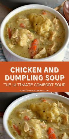 The ultimate comfort food, this Chicken and Dumpling Soup is the perfect easy dinner recipes for the family! It's made with hearty vegetables, tender chicken, and homemade dumplings just like grandma used to make! Save this family-friendly recipe! Chicken Dumpling Soup, Homemade Chicken And Dumplings, Vegetable Soup With Chicken, Dumplings For Soup, Homemade Soup, Hearty Chicken Soup, Dumpling Recipe, Hearty Soup Recipes, Recipes