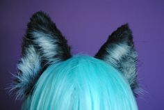 silver fox/black wolf ears by woodlandcreatureshop on Etsy, $40.00