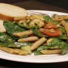 CONTEST WINNER: Spinach Pasta Salad with Lemon Balsamic Dressing