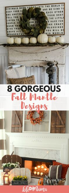 No matter how big your mantle is (or your budget), you can create a beautiful focal point for your Fall decor. Keep reading for some gorgeous fall mantle designs! #fallmantle #mantledecor