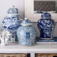 "277 Likes, 6 Comments - Hamptons Home (@hamptonshomeau) on Instagram: ""Because it can get difficult to stop at just one, we like to display our ginger jars in pairs of…"""