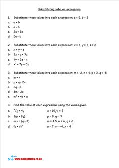 substitution worksheet substituting into algebraic expressions math 6th math expressions. Black Bedroom Furniture Sets. Home Design Ideas