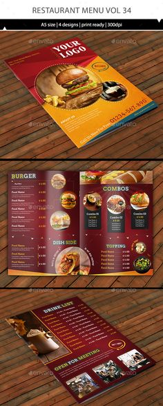 Trifold Fast Food Menu Flyer Print templates, Food menu and Menu - food menu template