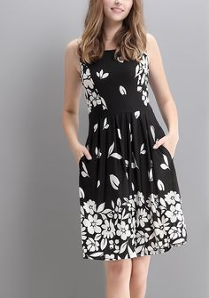 Black Falling Petal Fit & Flare Dress