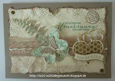 Postkarte im Vintage Look mit den Stempelsets Schmetterlingsgruß und Herzklopfen von Stampin Up