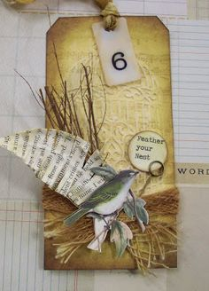 Tag. Bird, paper feather. Creative Paper Arts at Everything Scrapbook & Stamps: Tags
