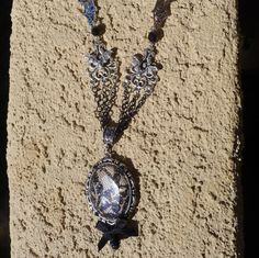 Gothic Silver Bat Cameo Lace Filigree Necklace , Adjustable , Chain , OOAK!!! by princessmadisonparis on Etsy