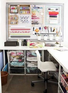 Perfect Sewing Room Ideas for Small Spaces Sewing Room Ideas for Small Spaces 53 Craft Room Reveal Honeybear Lane Room Ideas for Small Spaces 53 Craft Room Reveal Honeybear Lane 5 Sewing Room Design, Craft Room Design, Sewing Spaces, My Sewing Room, Small Sewing Space, Sewing Room Organization, Craft Room Storage, Organization Ideas, Paint Storage