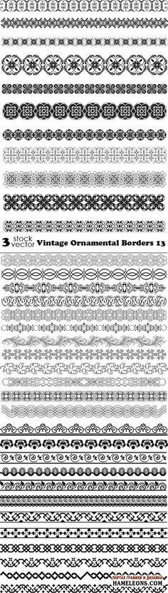 Винтажные орнаментальные бордюры в векторе   Vintage Ornament Borders vector 10
