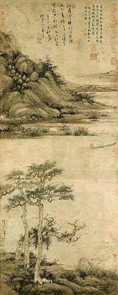 Wu Zhen (1280-1354), Pêcheur ermite sur le lac Dongting, 1341. Rouleau vertical, encre sur papier. National Palace Museum, Taipei. © National Palace Museum.