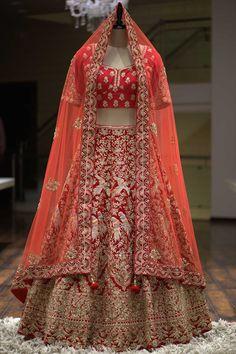 A Red Zardosi Embroidered Velvet Bridal Lehenga Bridal Lehenga Online, Designer Bridal Lehenga, Indian Bridal Lehenga, Designer Lehanga, Designer Wear, Designer Dresses, Raw Silk Lehenga, Pink Lehenga, Lehenga Blouse