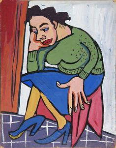 Woman in Green Sweater on Red Bench (1939-40), by William H. Johnson, Smithsonian American Art Museum, Gift of the Harmon Foundation