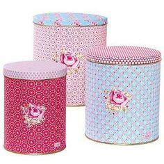 Rose tin jars