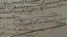 Firma de Miguel de Cervantes, en un protocolo original del Archivo Histórico de Protocolos de Madrid. || #grafologia #firmas #Cervantes