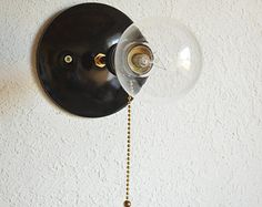 Pulley - Black brass pull chain Industrial modern wall sconce light. Globe light bulb. Bathroom, bedroom, hallway lighting.