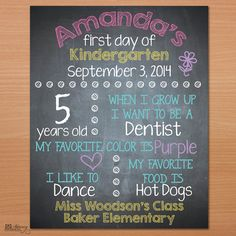 Printable First Day of School Sign, DIY Chalkboard Sign, Back to School Sign by Designed By M.E. Stationery
