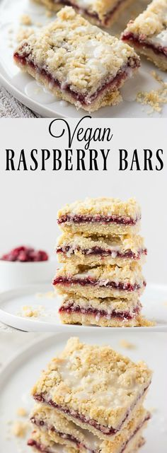Vegan Raspberry Bars are made with a coconut oil shortbread crust and topping, made with only 5 ingredients and 1 bowl! Vegan Raspberry Bars are made with a coconut oil shortbread crust and topping, made with only 5 ingredients and 1 bowl! Healthy Vegan Dessert, Vegan Dessert Recipes, Vegan Treats, Vegan Foods, Vegan Dishes, Dairy Free Recipes, Baking Recipes, Gluten Free, Vegetarian Desserts