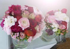Brautstrauss und Wurfstrauss in Burgund und Plum, Rosé Tönen