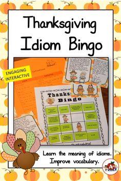 Idiom Bingo Thanksgiving Theme