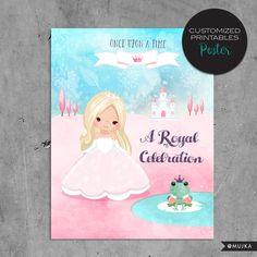 Printable custom Princess Birthday Poster, Watercolor Pink Princess Birthday Party Poster, wall art, centerpiece, fairy tale, castle by MUJKA on Etsy