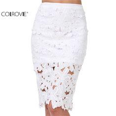 COLROVIE Brand Spring/Summer New Designer Women's Clothing Fashion White Crochet Lace Pencil Skirt