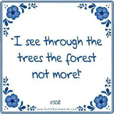 Dutch expressions in English: ik zie door de bomen het bos niet meer