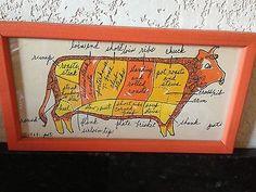 Vintage 1969 Original Hand decorated SOOVIA JANIS INC PATI COW MEAT PRINT framed (11/15/2013)