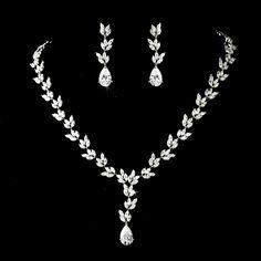 Cubic Zirconia Leaf Design Bridal Jewelry Set