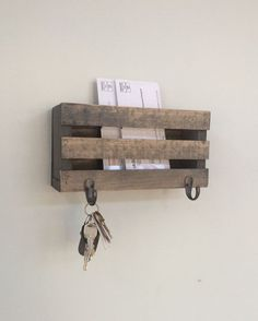 Mailbox, Mail, Mail Organizer, Key Hooks, Rustic, Letters, Magazines, Reclaimed Wood, Farmhouse, Barn, Woodwork, Keys, Home Decor