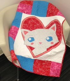 (7) Name: 'Quilting : Baby Cat Heart Quilt